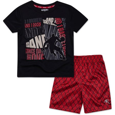 Image of And1 Baby Toddler Boy Graphic Tee & Shorts Sporty Outfit Set