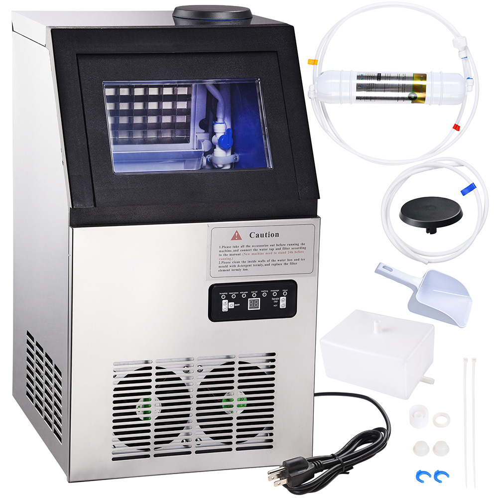 Commercial Ice Maker Machine 100 lbs/24h Automatic Air Cooled Stainless Steel