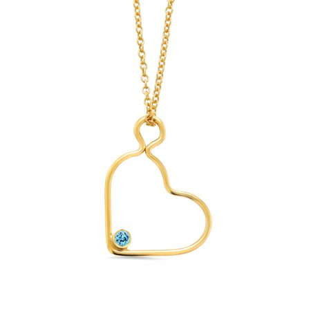 2mm Round Swiss Blue Simulated Topaz 14K Gold Filled Heart Pendant w/ Chain 14k Blue Topaz Necklace
