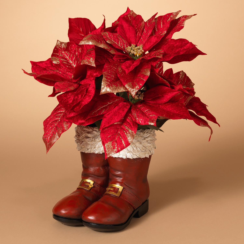 Holiday Santa Boots Planter Vase Pot Festive 2 Pack Fancy Flower Christmas Decor Walmart Com Walmart Com