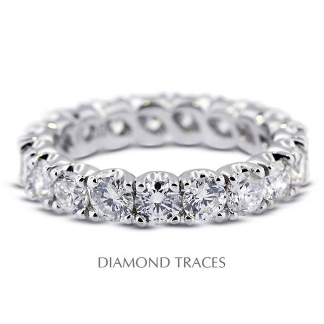 Diamond Traces UD-EWB300-3383 14K White Gold 4-Prong Setting 1.41 Carat Total Natural Diamonds Classic Eternity Ring - image 1 of 1