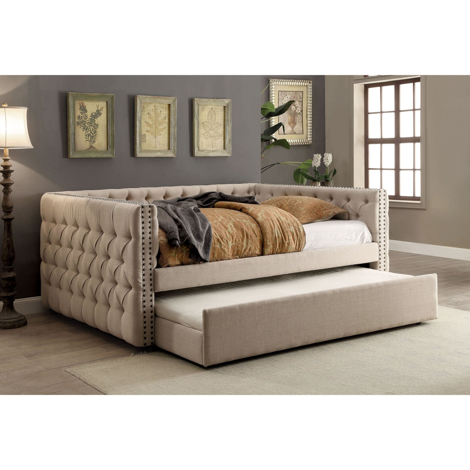 Furniture of America Cristina Contemporary Tufted Linen-Like Fabric Daybed