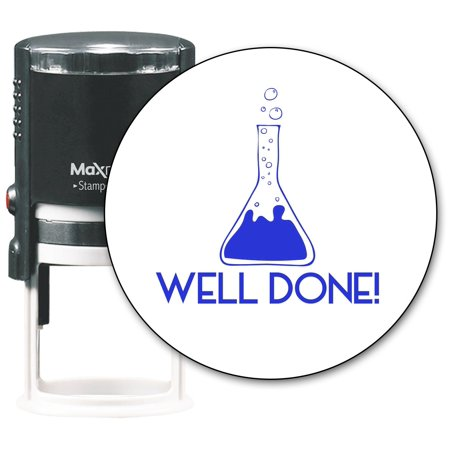 MaxMark Round Teacher Self Inking Stamp - Jumbo Series with Blue Ink (TS305 - WELL DONE!)