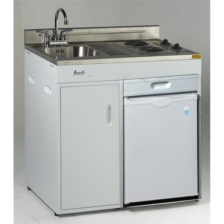 36 in. Complete Compact Kitchen with Refrigerator,
