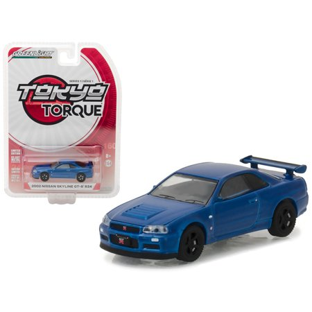 2002 Nissan Skyline GT-R R34 Bayside Blue Tokyo Torque Series 1 1/64 Diecast Model Car by Greenlight