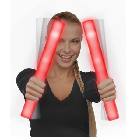 Glow Foam Sticks (Fun Central (G30) 1 pc Red Led Foam Sticks, Light Up baton, Glow in the Dark Foam)