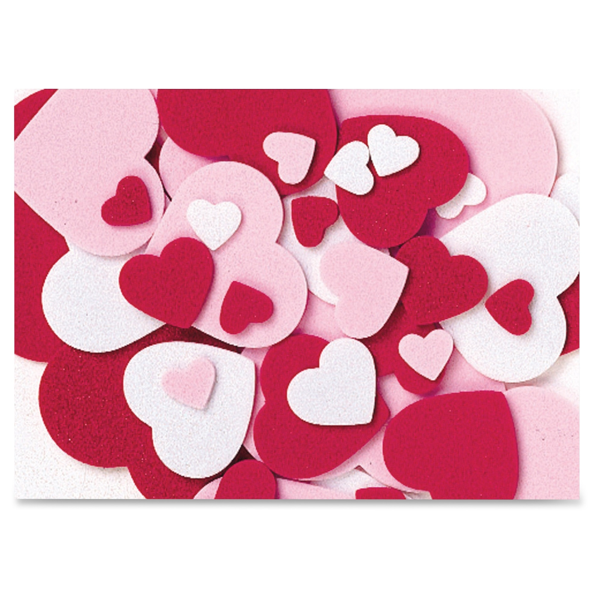 Wonderfoam Peel And Stick Hearts - Valentine's Day, Birthday Theme/subject - 264 Heart - Self-adhesive - Durable, Easy Peel - Red, Pink, White - Foam - 264 / Set (ckc-4316)