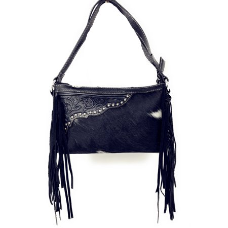 Handcrafted Leather Western Floral Tooled Cowhide Womens Fringe Clutch Crossbody