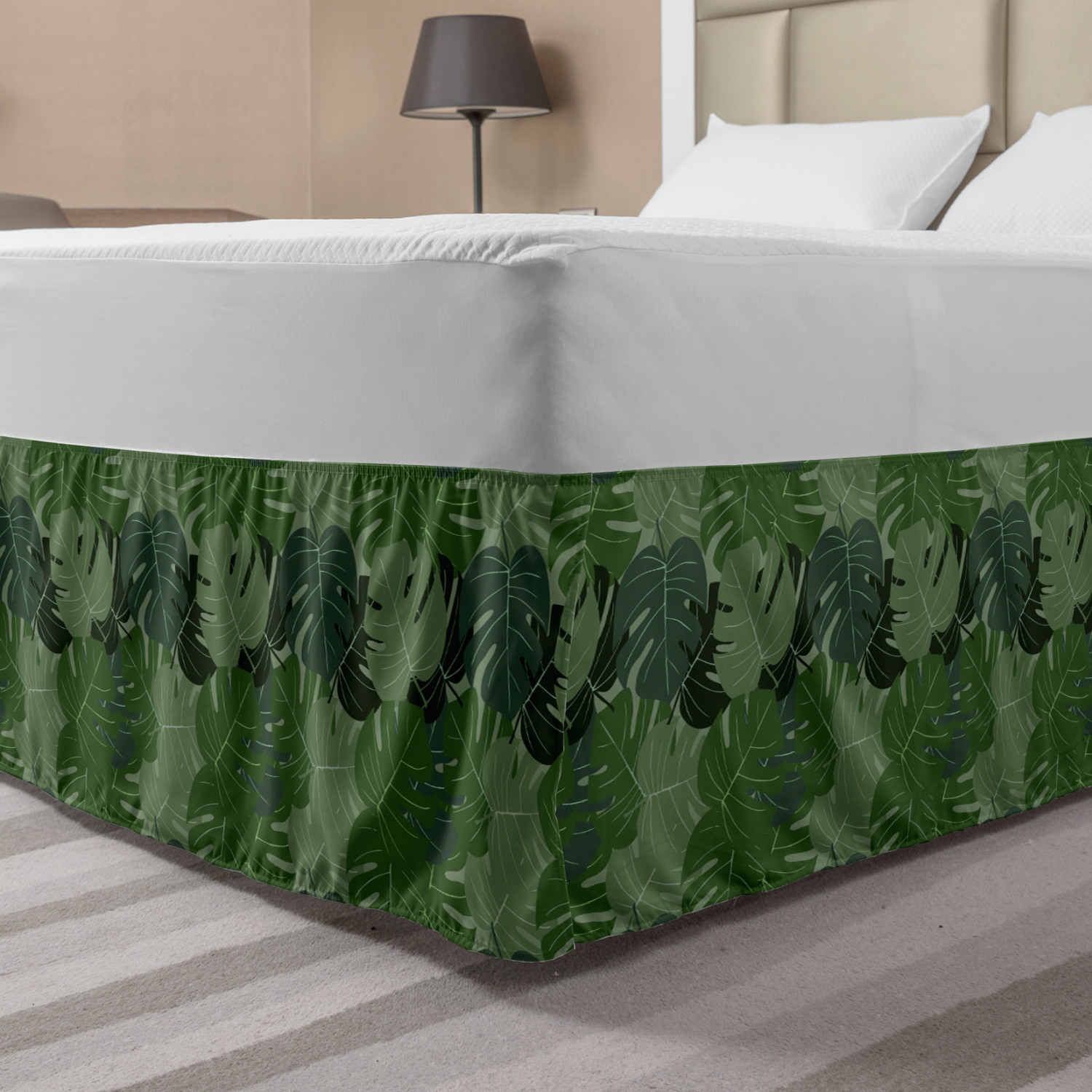 Forest Green Bed Skirt Camouflage Pattern Of Palm Leaves Tropical Nature Themed Foliage Elastic Bedskirt Dust Ruffle Wrap Around For Bedding Decor 4 Sizes Sage Green Pale Green By Ambesonne Walmart Com