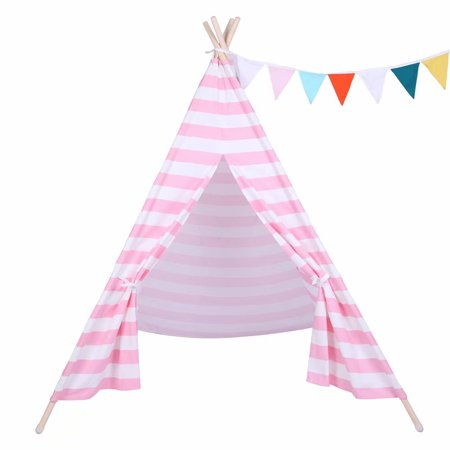Playhouse Windows And Doors - Kids Foldable Teepee Play Tent Playhouse Classic Indian Style Play Tent and Carry Bag Window, Door and built-in Pocket
