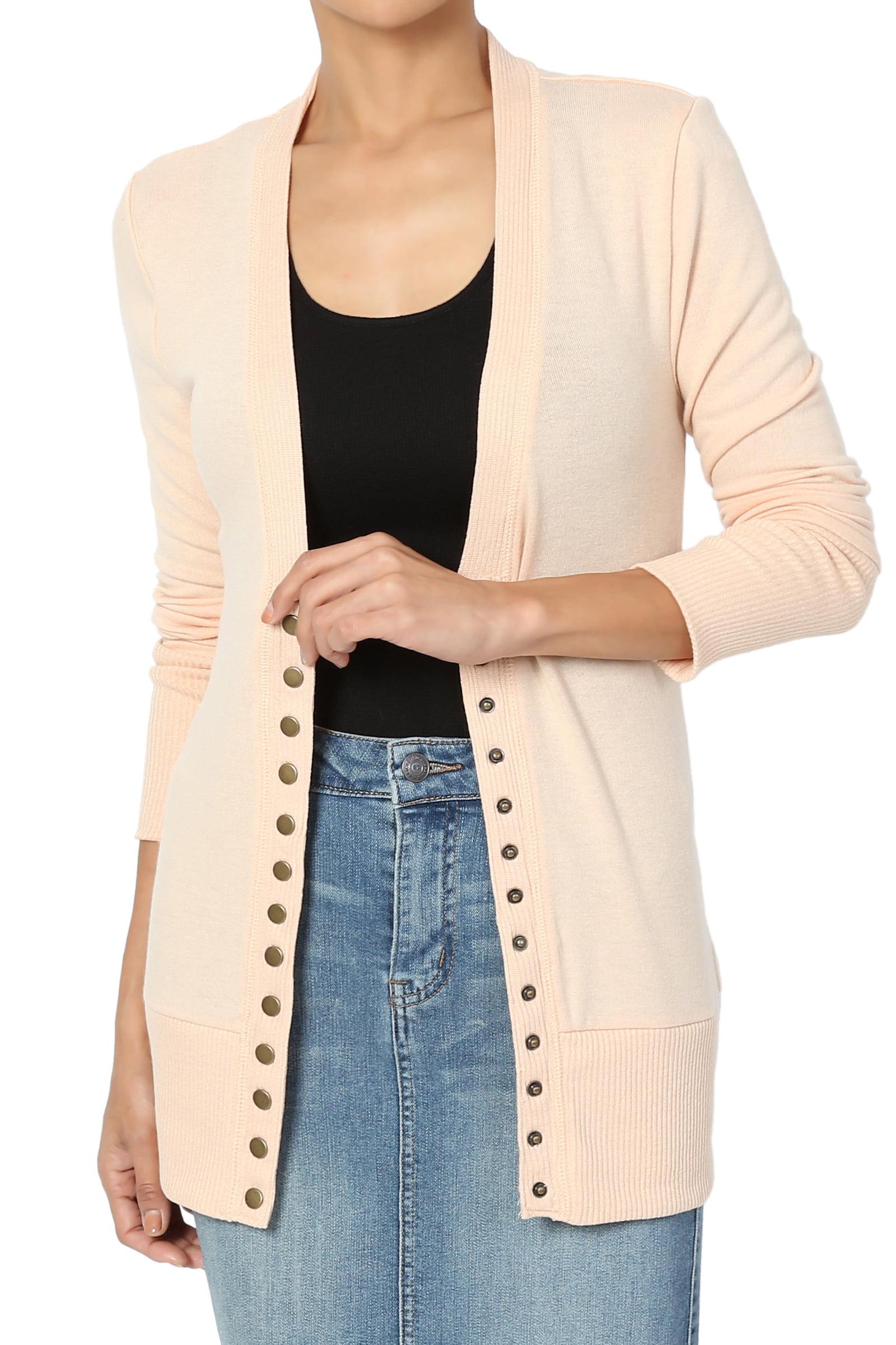 TheMogan Women's PLUS Basic Snap Button V-Neck Long Sleeve Knit Cardigan