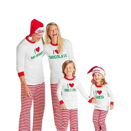 Family Matching Christmas Pajamas Set Xmas Sleepwear for Dad Mom Kids 2PCS (Christmas Clothing For Children)