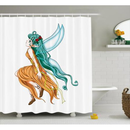 Anime Shower Curtain Pixie Girl Caricature With A Long Green Hair And Wings Fantasy Elf