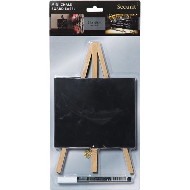 Securit MNI-B-KR-1 Table Chalkboard Easel & Marker, Beech