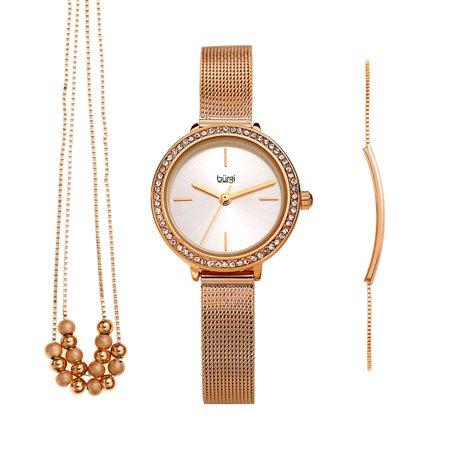 Burgi  Women's Beaded Necklace Bar Bracelet Swarovski Mesh Watch Fashion Box Set - Rose