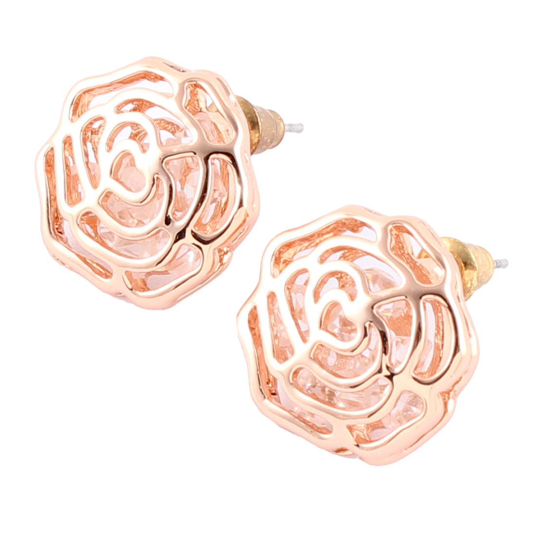 Lady Party Metal Flower Shaped Rhinestone Decoration Earring Rose Gold Tone Pair