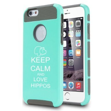 Apple iPhone 6 6s Hybrid Shockproof Impact Hard Cover / Soft Silicone Rubber Inside Case Keep Calm and Love Hippos (Teal/Gray),MIP