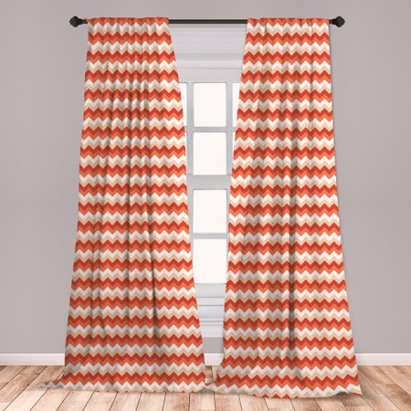 Coral Curtains 2 Panels Set, Horizontal Chevron Pattern Arrows Geometric Design Striped Old Fashion Zigzag, Window Drapes for Living Room Bedroom, Orange Coral White, by Ambesonne (Horizontal Window Curtain)