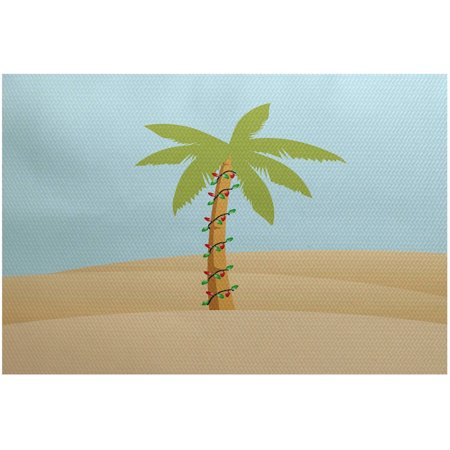 - Simply Daisy 2' x 3' Palm Tree With Christmas Lights Geometric Print Indoor Rug