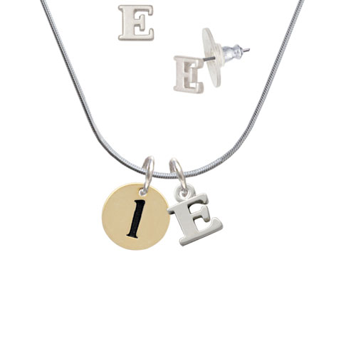 Gold Tone Disc 1/2'' Initial - l - - E Initial Charm Necklace and Stud Earrings Jewelry Set