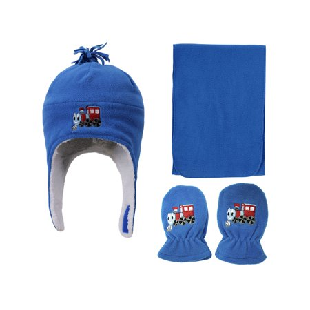 Patterned Hat, Scarf Glove Set, Train Emb Solid, 6-24 Month (Train Conductor Hats For Adults)