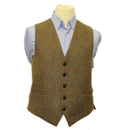 Mens Full Back Wool Tweed Vest Brown from (Mens Tweed)