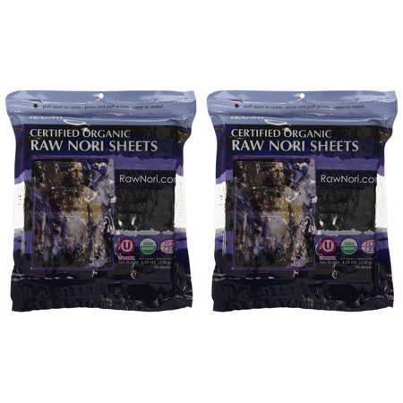 Raw Organic Nori 100 Sheets Pack - Certified Vegan, Raw, Kosher Sushi Wrap Papers Premium Unheated Un-Cooked NOT Toasted