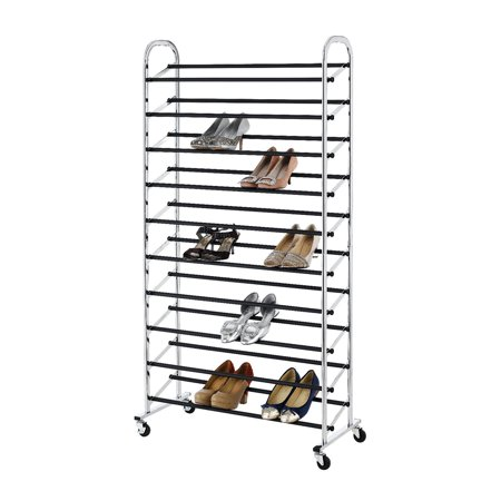 Zimtown Storage Shelf 10-tier 60 Pair Shoes Large Capacity Chrome Plating Shoe Rack