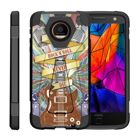 TurtleArmor ® | For Motorola Moto Z Droid Edition XT1650-01 [Dynamic Shell] Dual Layer Hybrid Silicone Hard Shell Kickstand Case - Rock N Roll Never Die