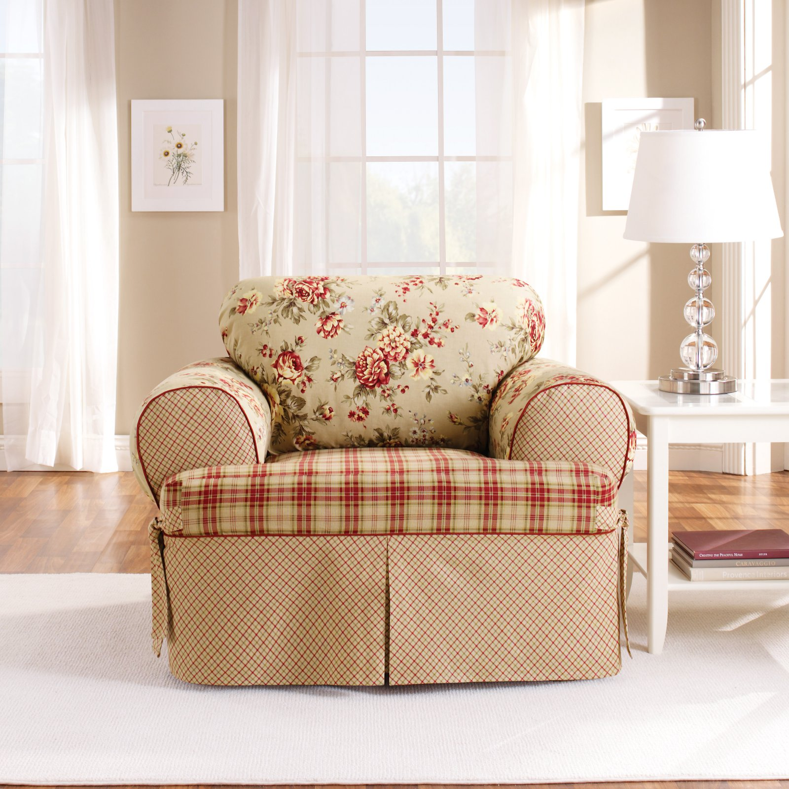 Sure Fit Lexington T-Cushion Chair Slipcover, Red