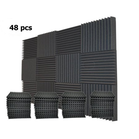 48 Packs Acoustic Foam Tiles Wall Record Studio Sound Proof 12 x 12 x 1 inch Panels
