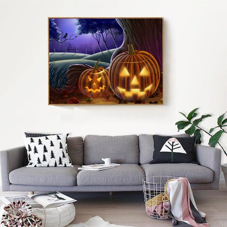 Halloween Full Drill All Square DIY Diamond Painting Kit Carton Adults Rhinestone Embroidery Cross Stitch Set Arts Craft Gift - Halloween Arts And Crafts 3rd Grade