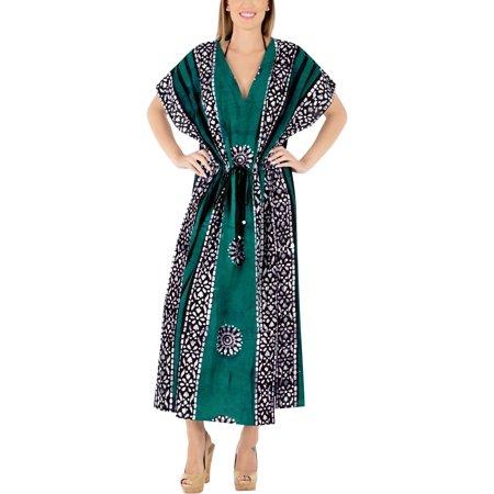 Womens Sleepwear Comfortable Cotton Evening Maxi Caftan Batik Maternity Tunic Dress Long Kaftan ()
