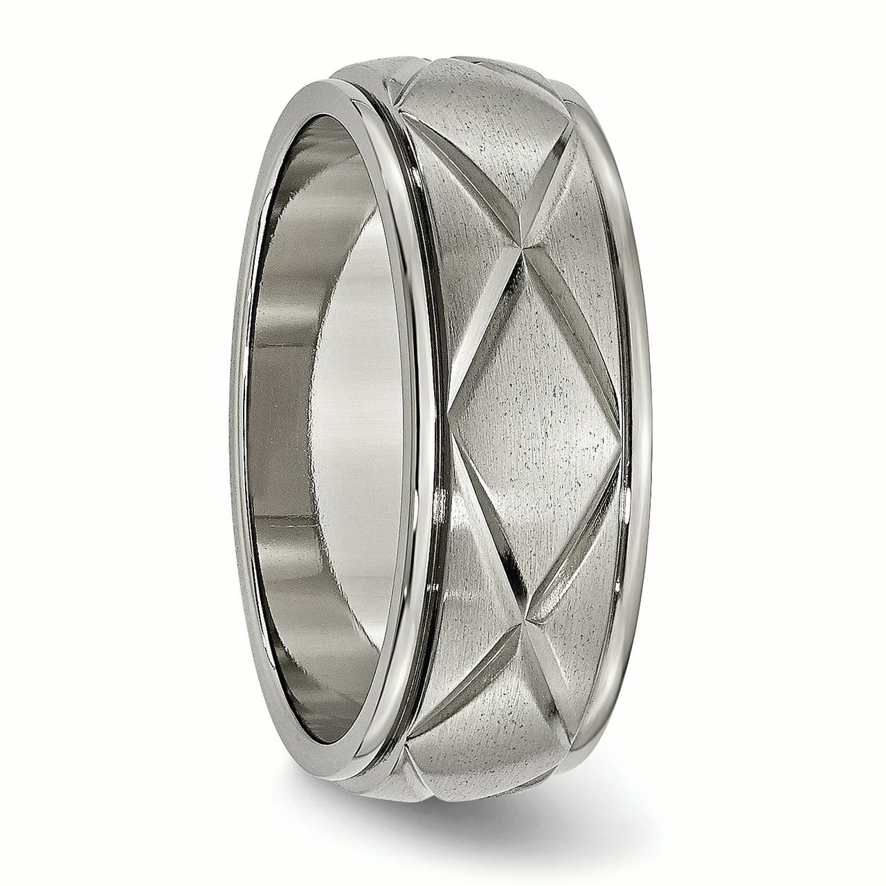 Edward Mirell Titanium Faceted Edges Brushed /& Polished 8mm Ring
