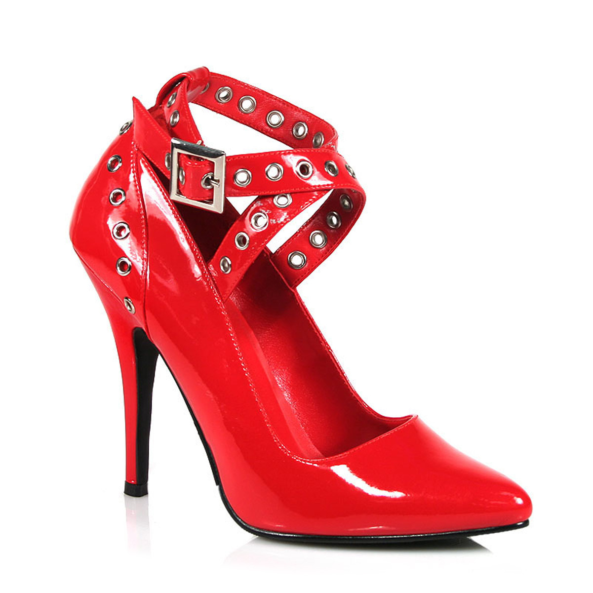 Womens Red Pumps 5 Inch Heels Sexy Shoes Crisscross Pump Eyelet-Hole Patent by