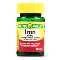 Spring Valley Iron Tablets, 65 mg, 100 Count