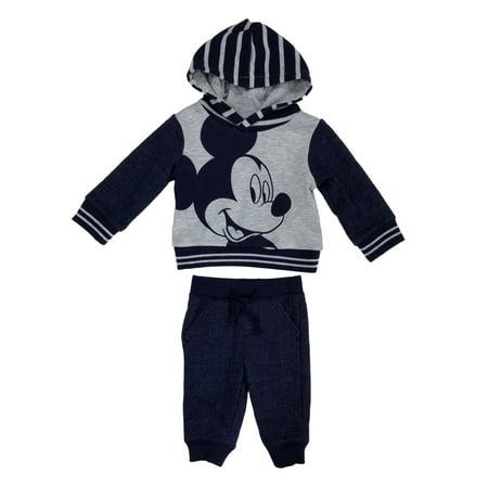 14fdf5f45 Disney - Disney Infant Boys 2-Piece Gray/Navy Mickey Mouse Pullover Hoodie  & Pants Set - Size - 0-3 Months - Walmart.com