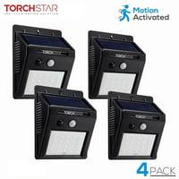 TORCHSTAR LED Solar Motion Sensor Lights, Wireless Outdoor Wall Lights, Outdoor Security Wall Mount Light for Garden, Patio, Black, Pack of 4