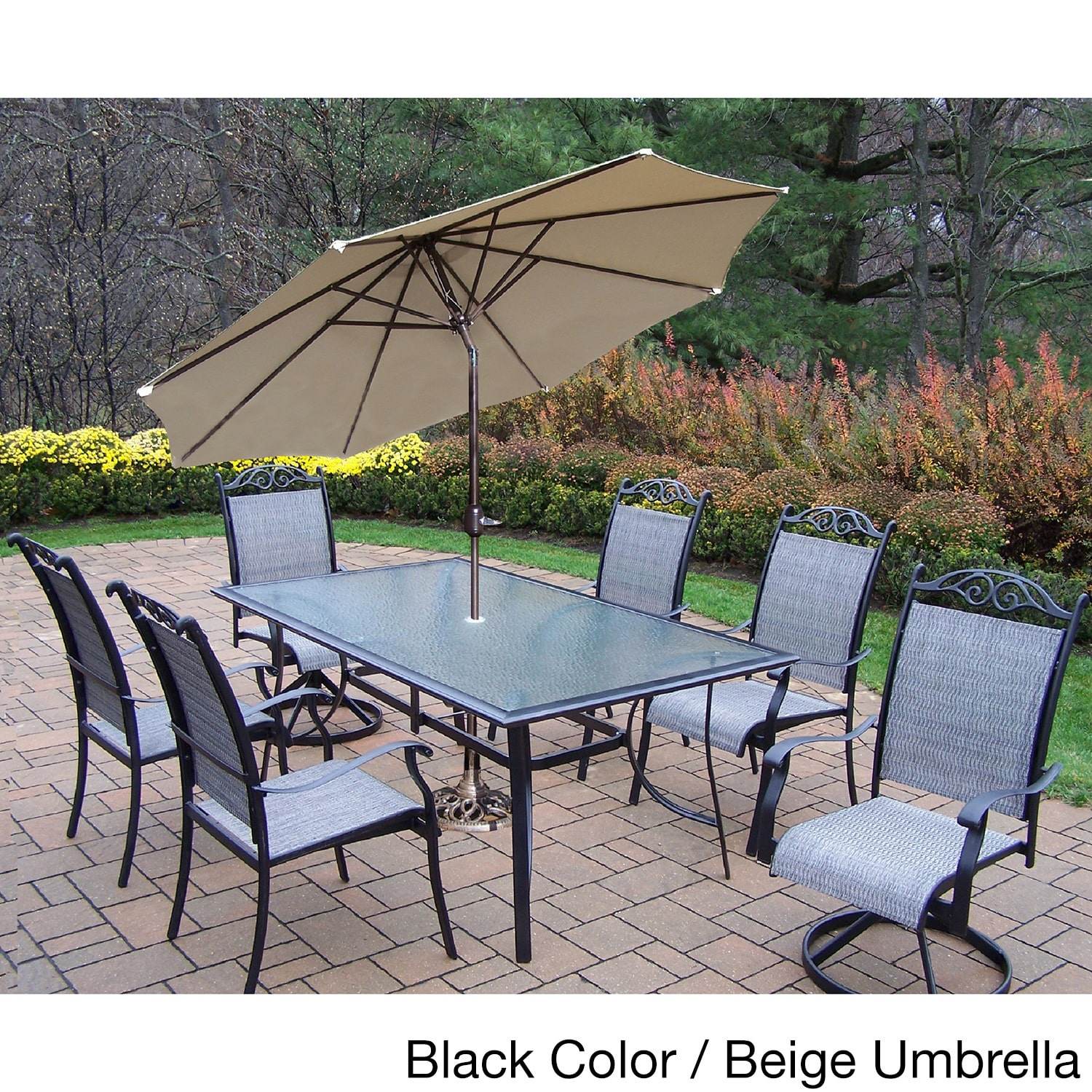 Oakland Living Corporation Aluminum Sling 9-piece Dining Set with Umbrella