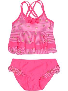53c59f50c2 Product Image Real Love Little Girls Pink Stripe Seashell Print 2 Pc  Tankini Swimsuit