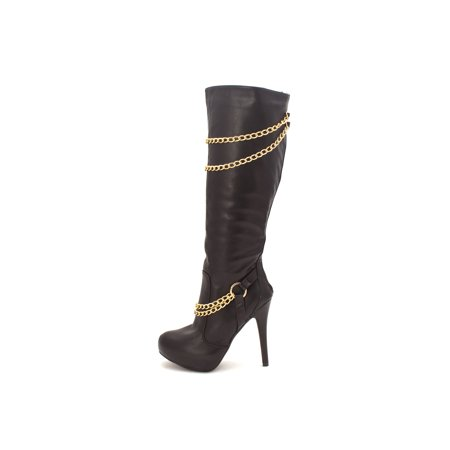 609c535a466ca Just Fab Womens vaynas Closed Toe Knee High Fashion Boots, Black, Size 6.5