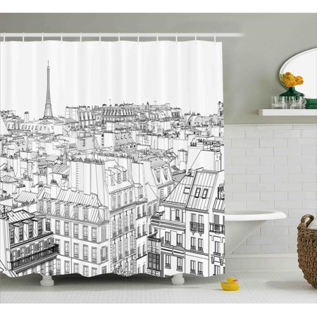 Paris Shower Curtain Architecture Theme Design Illustration Of Roofs In And Eiffel Tower Print Fabric Bathroom Set With Hooks Black White