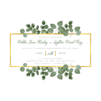 Personalized Eucalyptus & Gold Wedding Shower Invitation