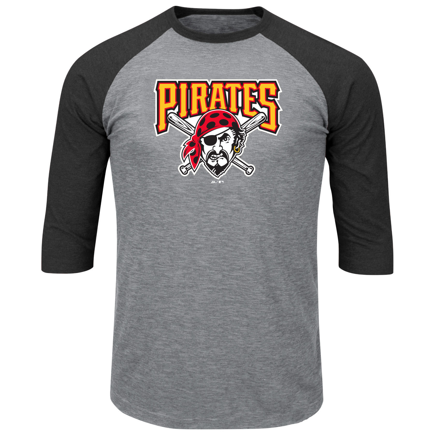 Pittsburgh Pirates Majestic Big & Tall Cooperstown Collection 3/4-Sleeve Raglan T-Shirt - Heathered Gray/Black