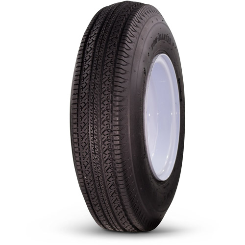 Greenball Towmaster 5.70-8 6-Ply Bias Trailer Tire and Wheel Assembly, 4-on-4 Bolt Pattern, White
