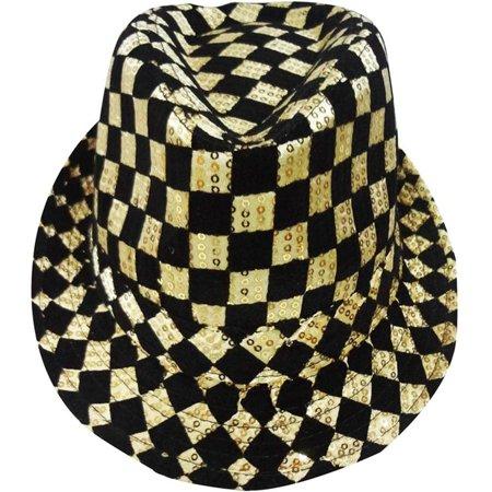 Gold Checkered Fedora Hat