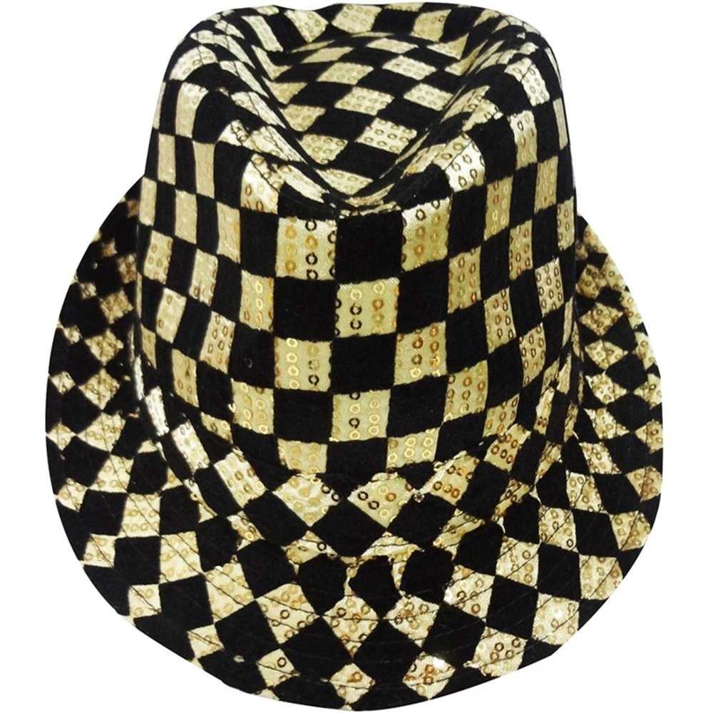 Gold Checkered Fedora Hat