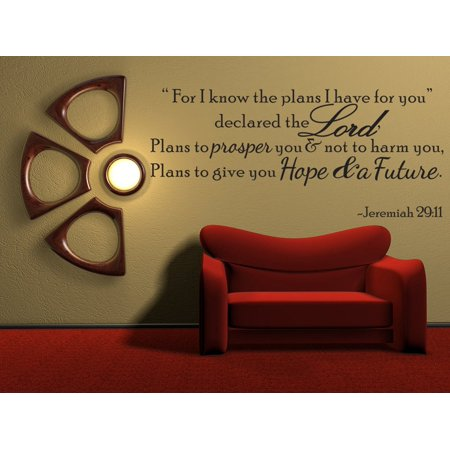 For I Know The Plans Jeremiah 29:11 Vinyl Wall Quote Decal Bible Word Gift Idea J250](Birthday Wall Ideas)