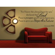 For I Know The Plans Jeremiah 29:11 Vinyl Wall Quote Decal Bible Word Gift Idea J250