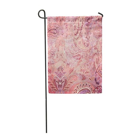JSDART Pink Floral Vintage Faded Paisley Red Abstract Antiquarian Antique Beautiful Cla Garden Flag Decorative Flag House Banner 28x40 inch - image 1 of 1